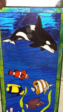 Custom Made Orca And Sealife Stained Glass Window