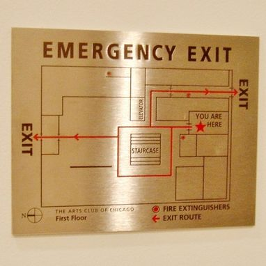 Custom Made Arts Club Etched Egress Map In Stainless