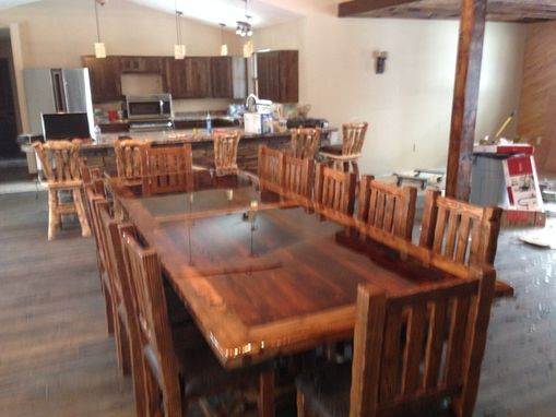 Custom Made Custom Built Reclaimed Barn Wood Dinning Room Table And Chairs