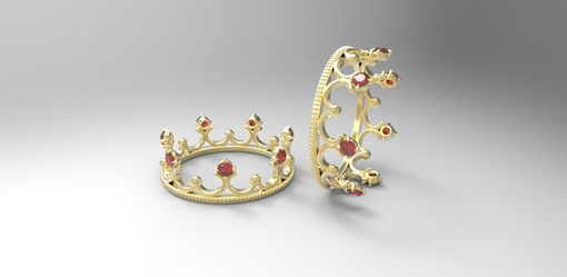 Custom Made 14k Yellow Gold Crown Ring With Rubies