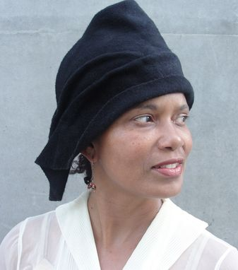Custom Made Ladies' Wool Felted Hat- Women's 1930s Black Draped Hat- Ladies' Custom Made Blocked Hat