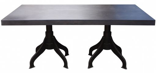 Custom Made Zander, Industrial Metal Double Pedestal Dining Table