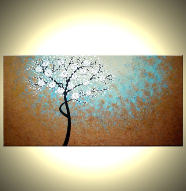 Custom Made Original Abstract Tree Painting, Textured Cherry Blossom Flowers, 2x4ft Abstract Metallic White