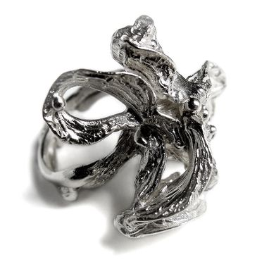 Custom Made Big Statement Ring In Argentium Silver Free Form Flower