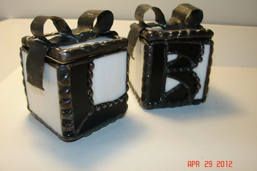Custom Made Set Of 2 - Bride And Groom Initialed Wedding Ring Exchange Stained Glass Box