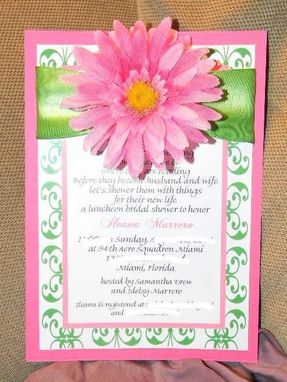 Custom Made Custom Gerbera Daisy Bridal Shower Invite With Ribbon Accent Pink & Green