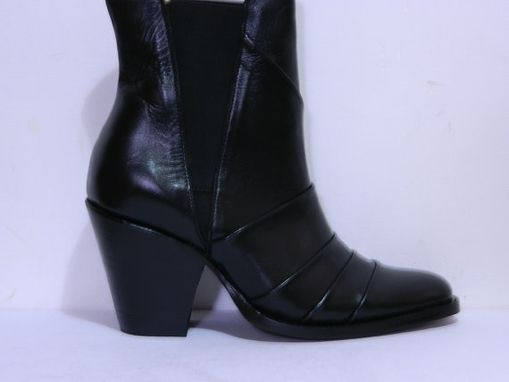 Custom Made Ankle Boots Plank Style Genuine Full Grain Leather And Leather Soles 4¨Heels