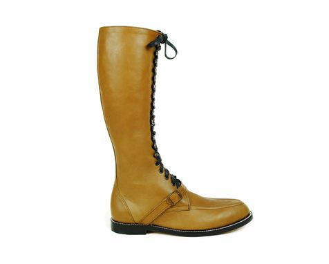 72988a568751f Buy Hand Crafted Rimbaud Lace Up Tall Boots, Moc Toe, Goodyear ...