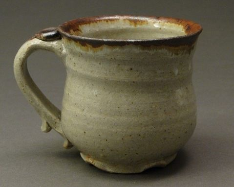 Custom Made Stoneware Clay Mug, Glazed With A Wood Ash Glaze And Drips From Iron Stain, (Sku 14)