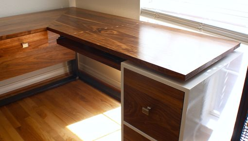 Custom Made L Shaped Walnut Desk