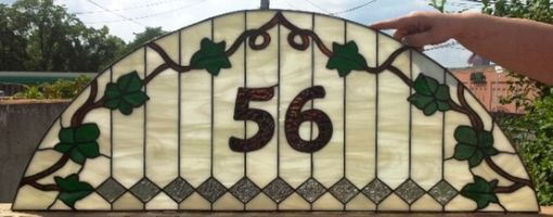 "Custom Made Stained Glass Transom Window -""Diamonds And Vines"" (Tw-27)"