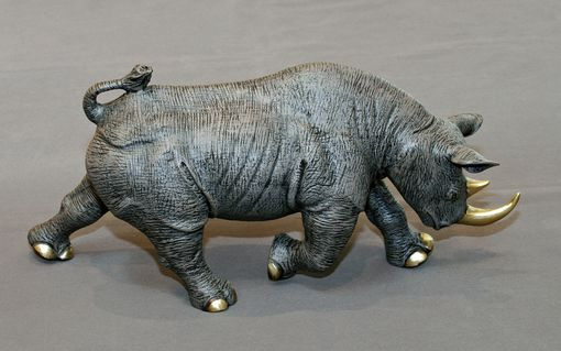 "Custom Made Bronze Rhinoceros ""Black Rhinoceros"" Rhino Figurine Statue Sculpture Art Limited Edition Signed"