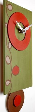 Custom Made Contemporary Pendulum Clock - Olive Green, Red-Orange Wall Clock With Loopy-Lu Design