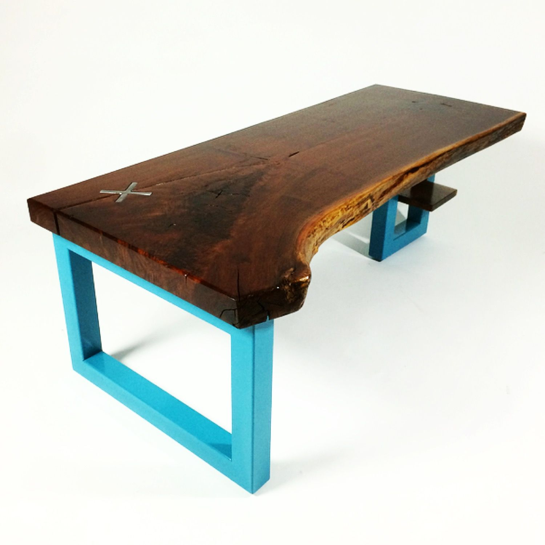 Mid Century Walnut Live Edge Coffee Table: Handmade Black Walnut Live Edge Coffee Table By CAUV