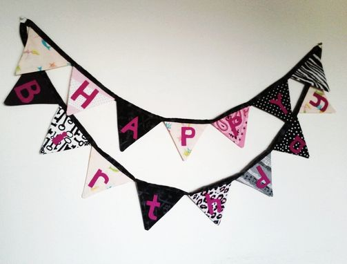 Custom Made Pirate Princess Happy Birthday Fabric Bunting. Ready To Ship. Party Decor Cloth Pennant Flag Banner.