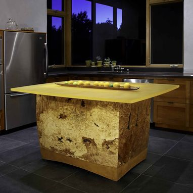Custom Made Maple Burl And Acrylic Kitchen Island