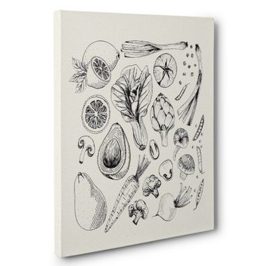 Custom Made Sketched Vegetable Kitchen Canvas Wall Art