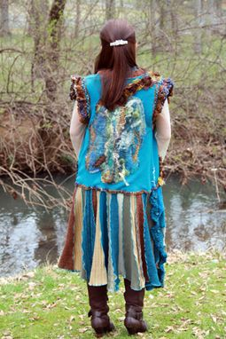 Custom Made Gypsy Long Vest Made From Repurposed Sweaters And Felt.