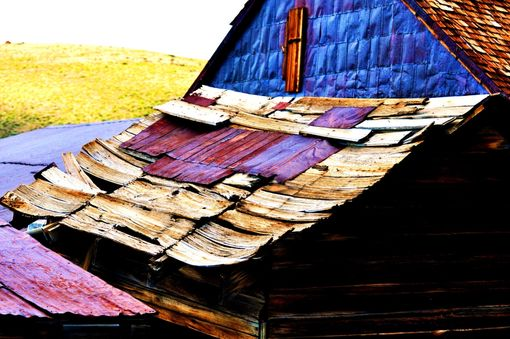 Custom Made Fine Art Photograph Of Century-Old Roofing In Bodie, Nevada