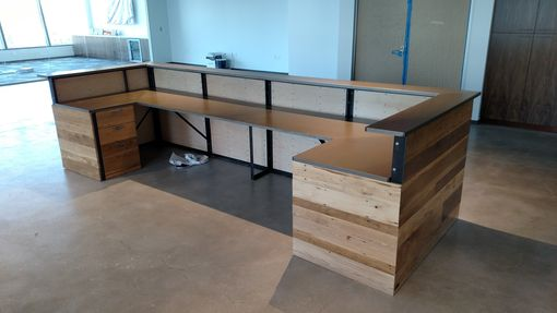 Custom Made Contemporary Reclaimed Wood And Steel Reception Desk