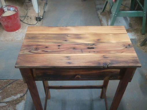 Custom Made Redwood And Cedar Barnwood Accent Table