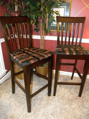 Custom Made Custom Barstool With Seat From Woven Recycled Leather Belts