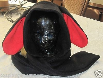 Custom Made Cosplay Black /Red Ear Scarf Hoodie In 6 Sizes,Dog, Bunny, Donkey, Kangaroo