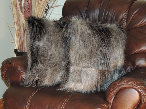 Custom Made Silver Feather Grey Black Faux Fur 18 X 18 In. Decorative Pillow - Set Of 2