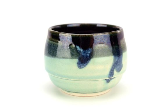 Custom Made Shades Of Teal Wheel Thrown Ceramic Pottery Tea Or Sake Cup By Gemfox Sra Usa