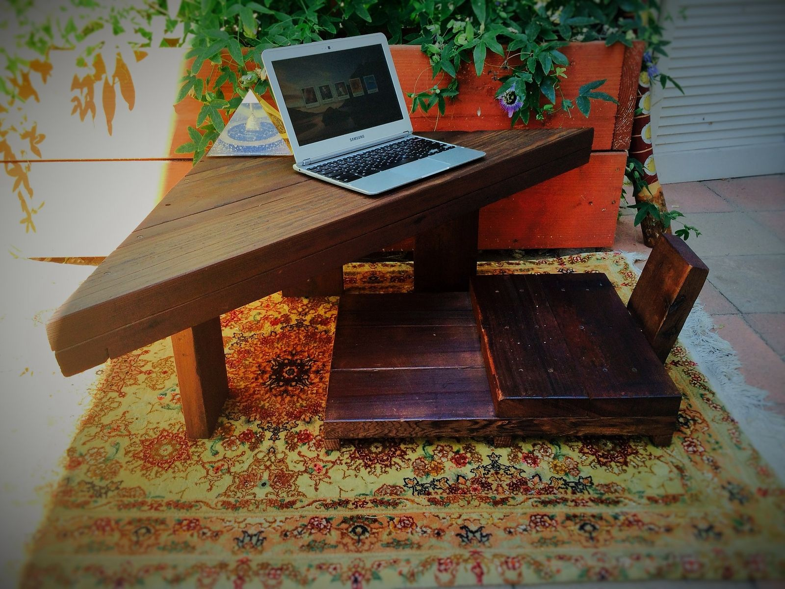 Classic Man Cave Zen : Hand made zen computer desk and chair by islands of infinity