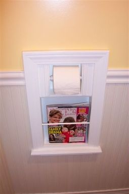 Custom Made Mr-2 In-The-Wall Magazine Rack Toilet Paper Combo Unit