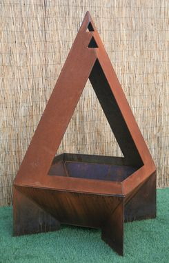 Custom Made Open Metal Chiminea - Modern Chiminea - Enclosed Fire Pit - Backyard Decor - Rustic Chiminea