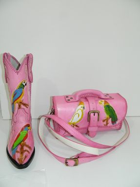 Custom Made Pink Hand Tooled Cowboy Boot And Bag With Colored Birds Design You Can Buy Both Items Or Only One