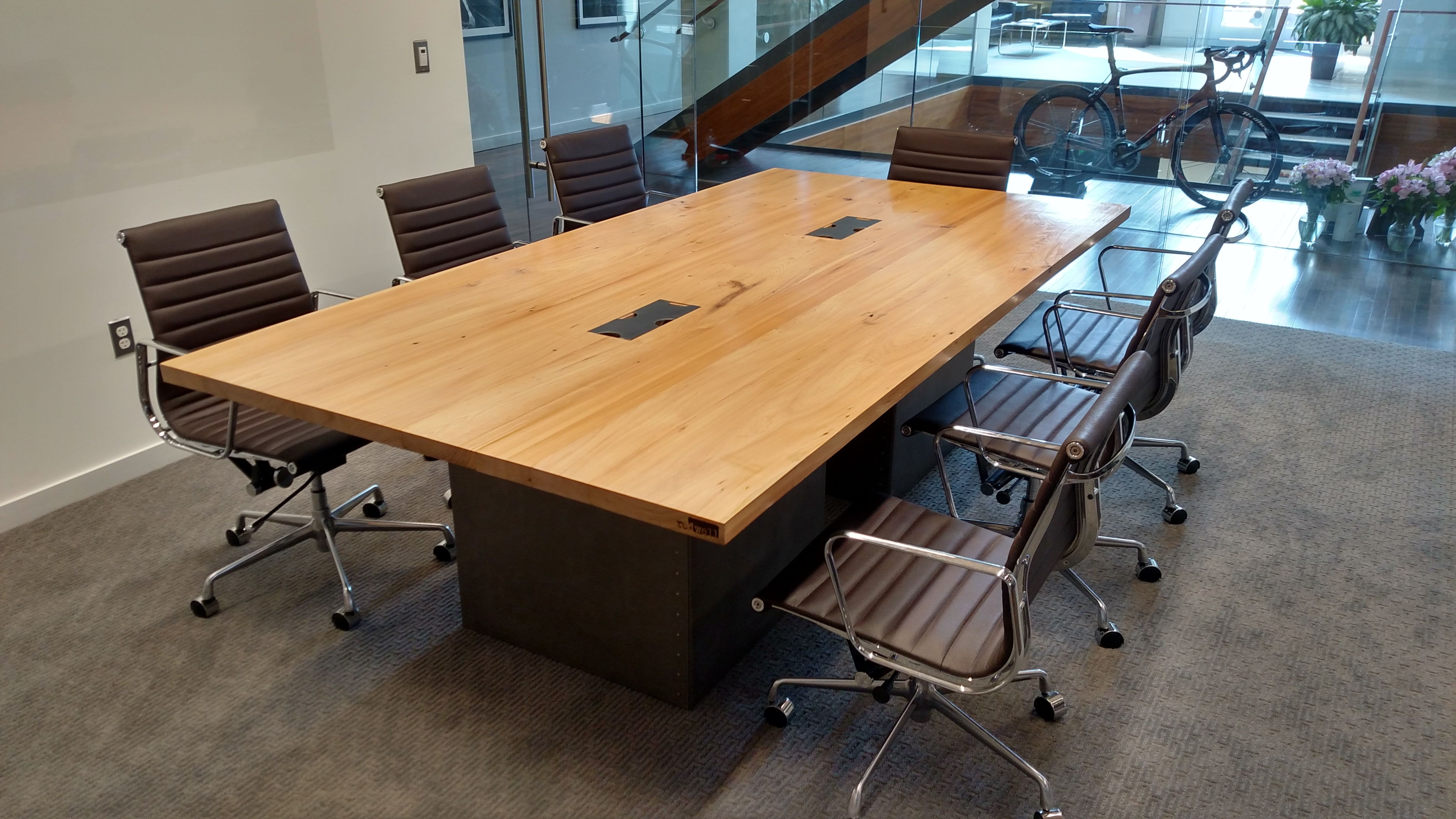 Hand Made Reclaimed Wood And Steel Industrial Conference Table By Re - Large wooden conference table