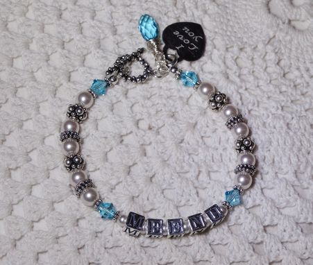 Custom Made Sterling Silver Name Bracelet With Swarovski Pearls And Crystals & Love Charm