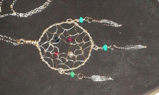 Custom Made Dream Catcher Pendant Necklace, Dreamcatcher Necklace, Family Birthstone Necklace