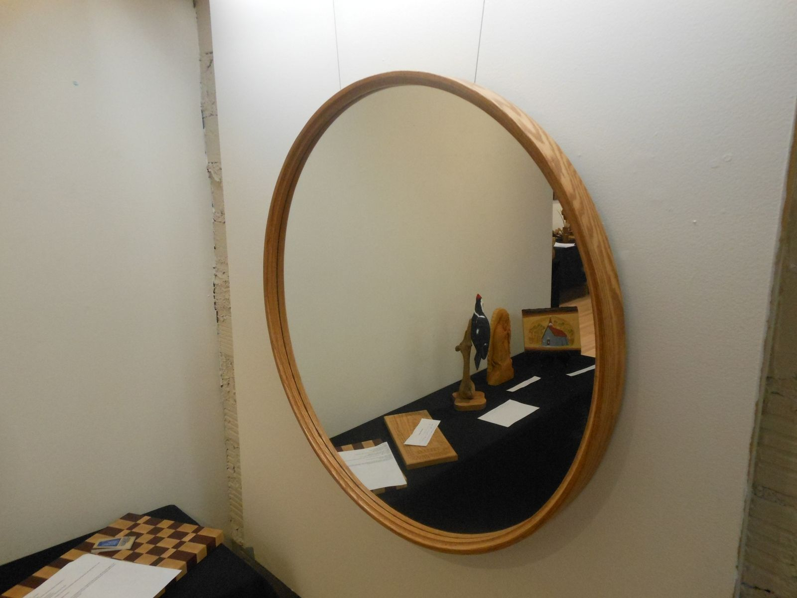 Large Round Mirror With Wood Frame Designs 42 Inches