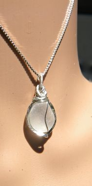 Custom Made White Sea Glass Necklace Wire Wrapped In Argentium Sterling Silver