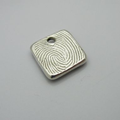 Custom Made Personalized Silver Fingerprint Square Charm Or Pendant