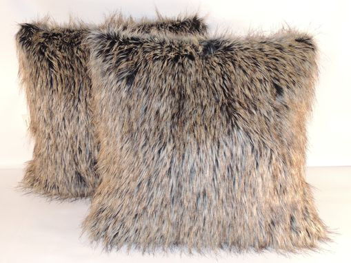 Custom Made Desert Fox Gray Faux Fur 18 X 18 In. Decorative Pillow - Set Of 2