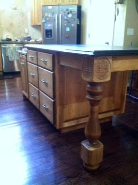 Custom Made Kitchen Island W/ Carved Legs