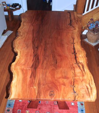 Custom Made Sycamore Slab Dining Table With Live Edges