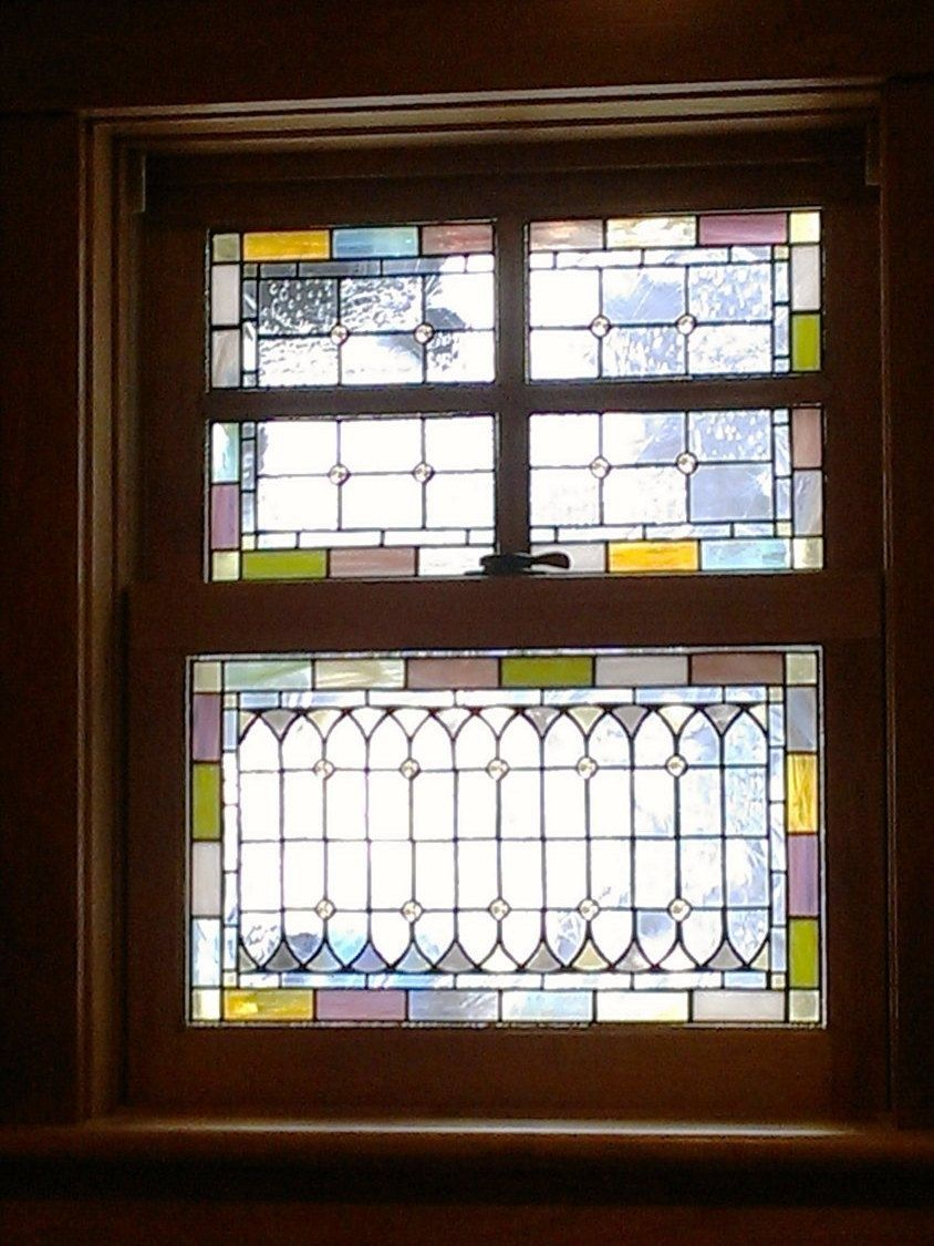 Hand made stained glass windows pale tones w 40 by for Custom transom windows