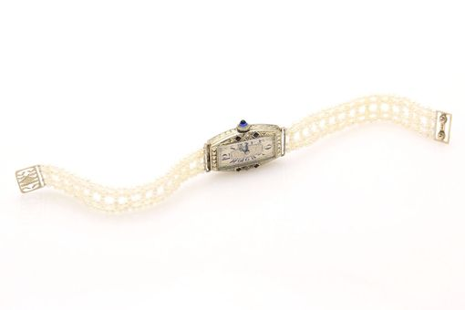 Custom Made Seed Pearl, Sapphire & Diamond Watch