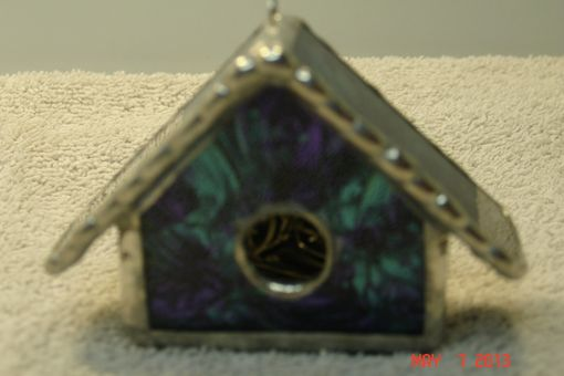 Custom Made Empty Nest Bird House Ornament In Van Gogh Blue Green / Violet Stained Glass