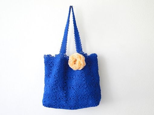 Custom Made Blue Handmade Crochet Handbag W/ Flower