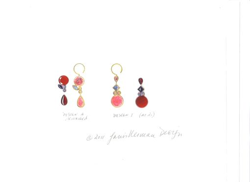 Custom Made Earrings Made With Clients' Existing Stones In Red Tones.