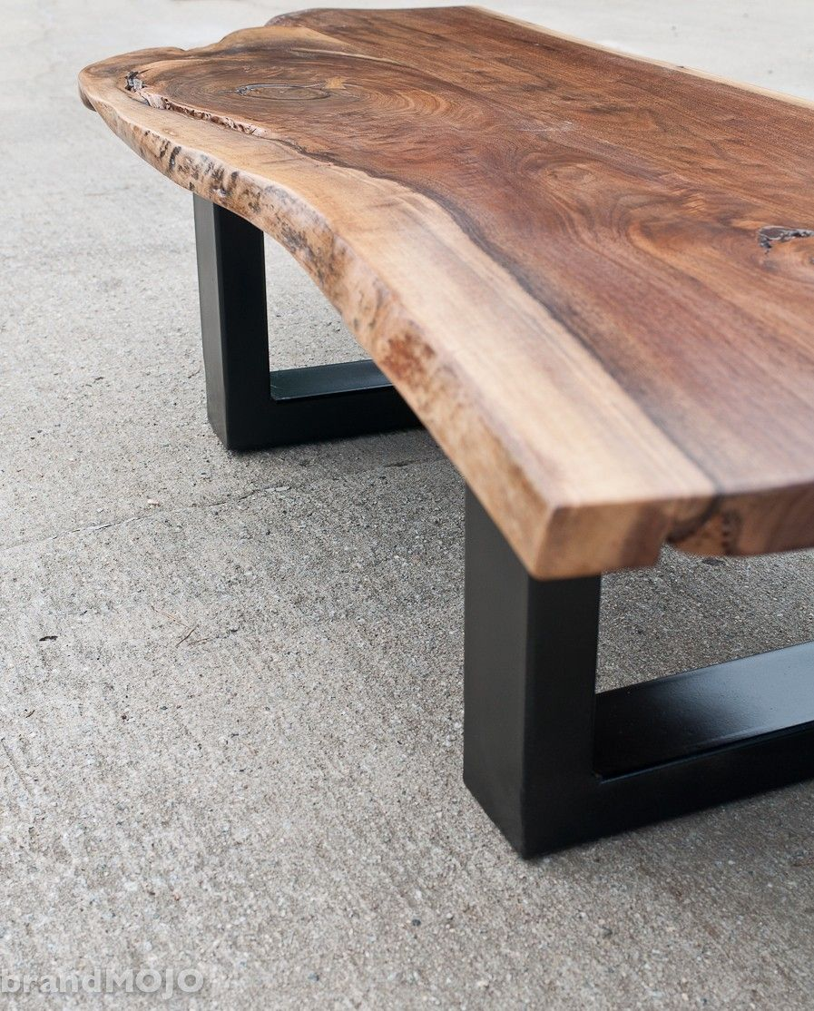 Rustic One Of A Kind Natural Teak Wood Slab Coffee Table: Handmade Acero Live Edge And Steel Coffee And Occasional
