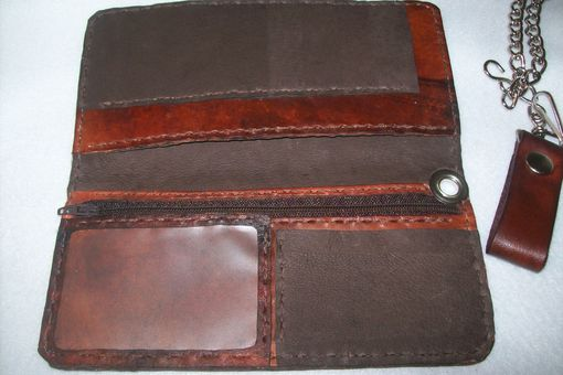 Custom Made Handcrafted Leather Harley Davidson Biker Wallet / Trucker Wallet