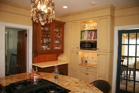 Custom Made Painted Kitchen Cabinetry With Hutch